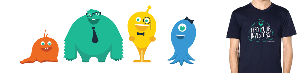 Monster mascots (left) created for SXSW advertising and as applied to apparel (right)