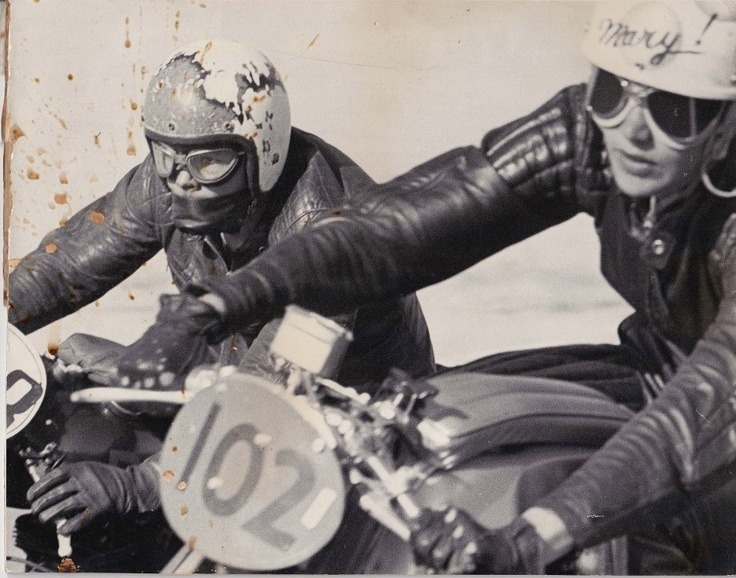 Mary McGee in 1961 road racing a CB92 Honda.