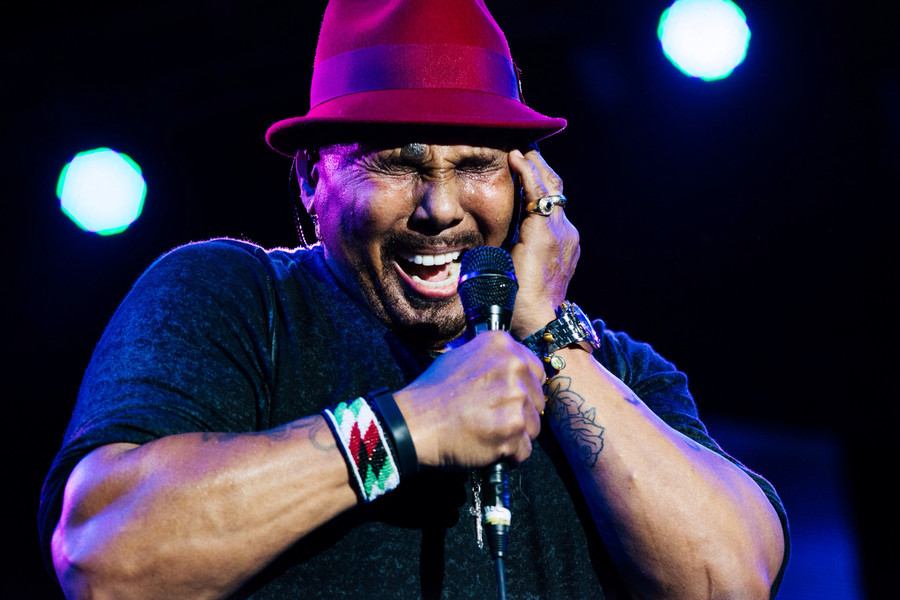 Aaron Neville deep in his performance at Jamaica Jazz & Blues 2014