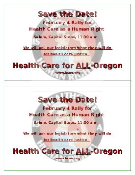 Half-sheet flier for Feb. Rally in Salem