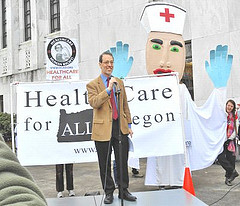 Representative Michael Demrow, author of the Affordable Health Care for All Oregon Act, speaks at the Feb. 4 rally