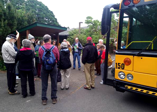 MVHCA Advocates gather and plan at UU Church before boarding bus for Salem, May 13, 2013.