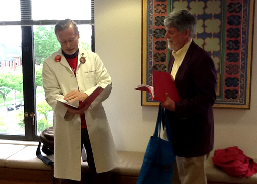 Dr. Frank Erickson, Pendleton, and Bill Whitaker, La Grande, prepare for a meeting with Senator Bill Hansell about HB 2922,  the Affordable Health Care for All Oregon Plan Act.  They were joined by Cheryl Simpson-Whitaker and Jane Howell for a discussion about the impact of lack of access to health care by people in Eastern Oregon.