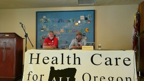Michael Moore, President (r), and Bill Whitaker, Treasurer, (l) open the 2nd Annual HCAO Membership Meeting in Eugene.