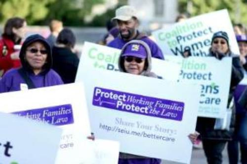 Members of Service Employees 32BJ demonstrated for Obamacare outside the Supreme Court—but now it looks like the health care law will harm multiemployer benefit funds like theirs. Photo: David Sachs, SEIU International.