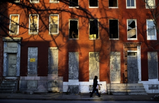 Blighted row houses in Baltimore, where huge disparity exists between the rich and poor. (AP Photo/Patrick Semansky)