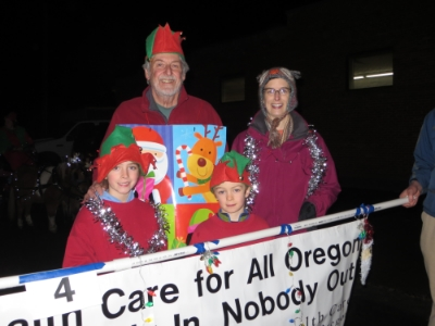 Bill Whitaker and family in the Union County Parade of Lights