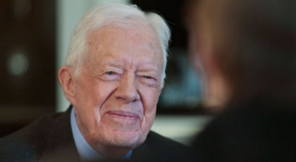 Former U.S. President Jimmy Carter speaks during an interview on Monday March 24, 2014 in New York.