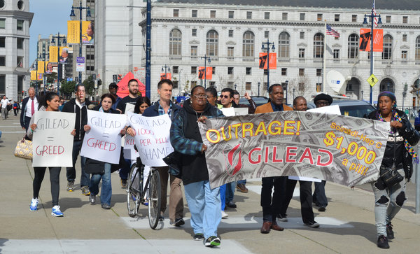A demonstration last year against Gilead Sciences, whose hepatitis C drugs cost $1,000 a pill or more. Credit AIDS Healthcare Foundation