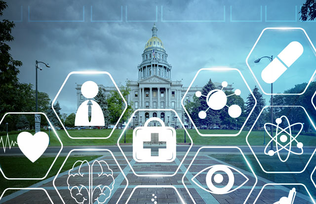 The woeful state of politics in Washington is one of the major reasons why single-payer activists have targeted reforms in the states. (Image: Colorado State Capitol, medical symbols via Shutterstock; Edited: JR/TO)
