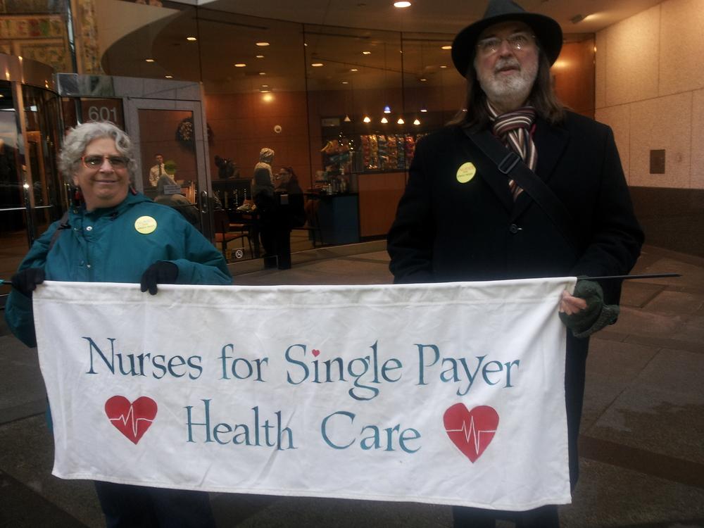 Nurses Betsy Zucker and David Young join the Moda demonstration