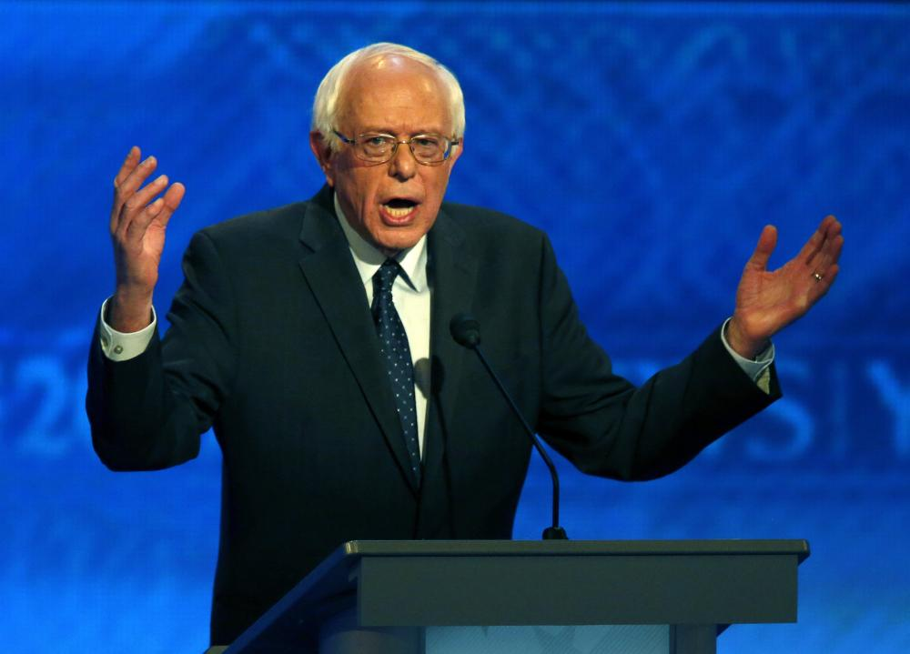 Bernie Sanders at the New Hampshire Democratic presidential debate. (AP)