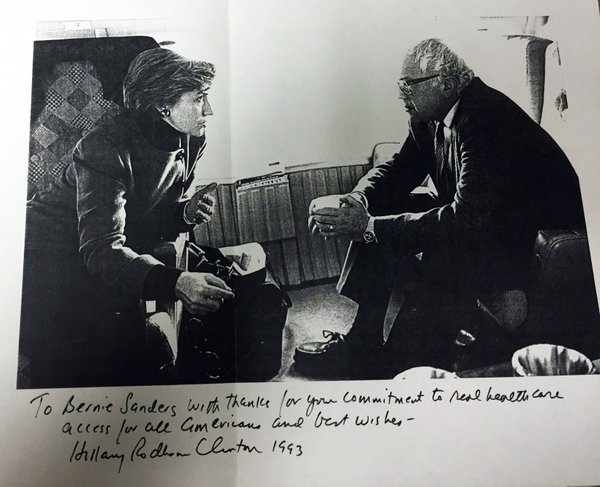 """To Bernie Sanders with thanks for your commitment to real health care access for all Americans...""-@HillaryClinton"