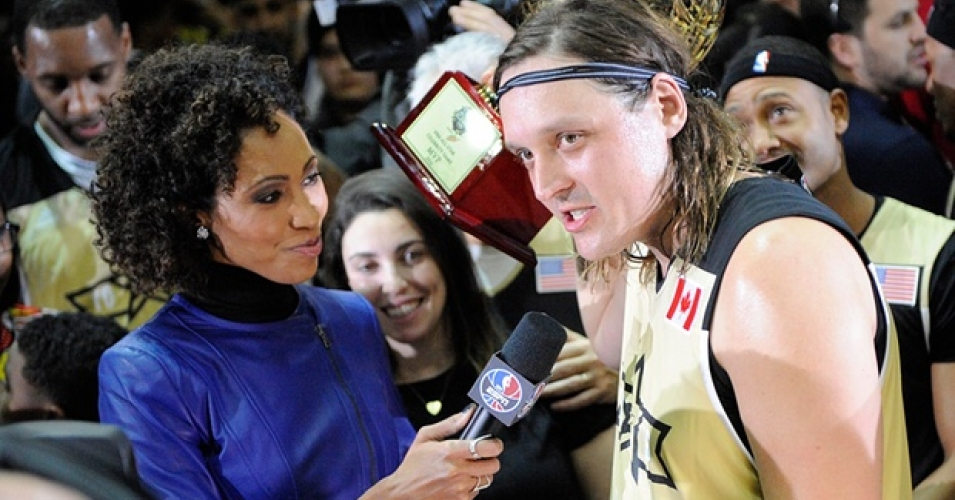 Rock star Win Butler received applause for his performance in Friday night's NBA Celebrity All-Star Game, televised on ESPN, but the sports network's anchor quickly shut down Butler when he tried to tell the millions of people watching how great a 'Medicare-for-All'-type health system like they have in Candada could be. (Photo: Peter Llewellyn/USA Today Sports)