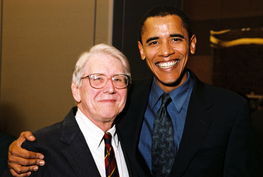 Quentin Young, MD, with Barack Obama
