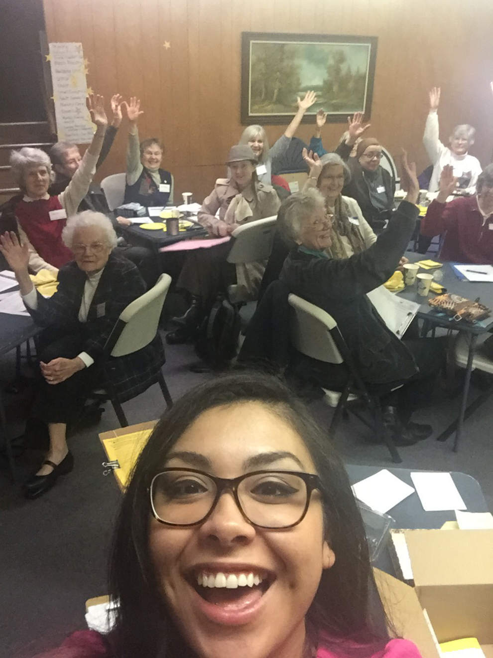 Reyna Lopez from A Better Oregon takes a selfie after speaking to the Church Women United chapter on the subject of rasing corporate income taxes to support social programs. The group regularly hosts speakers as part of its research on social issues.