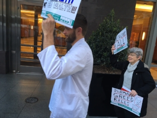 Carol Huntington marches with PNHP