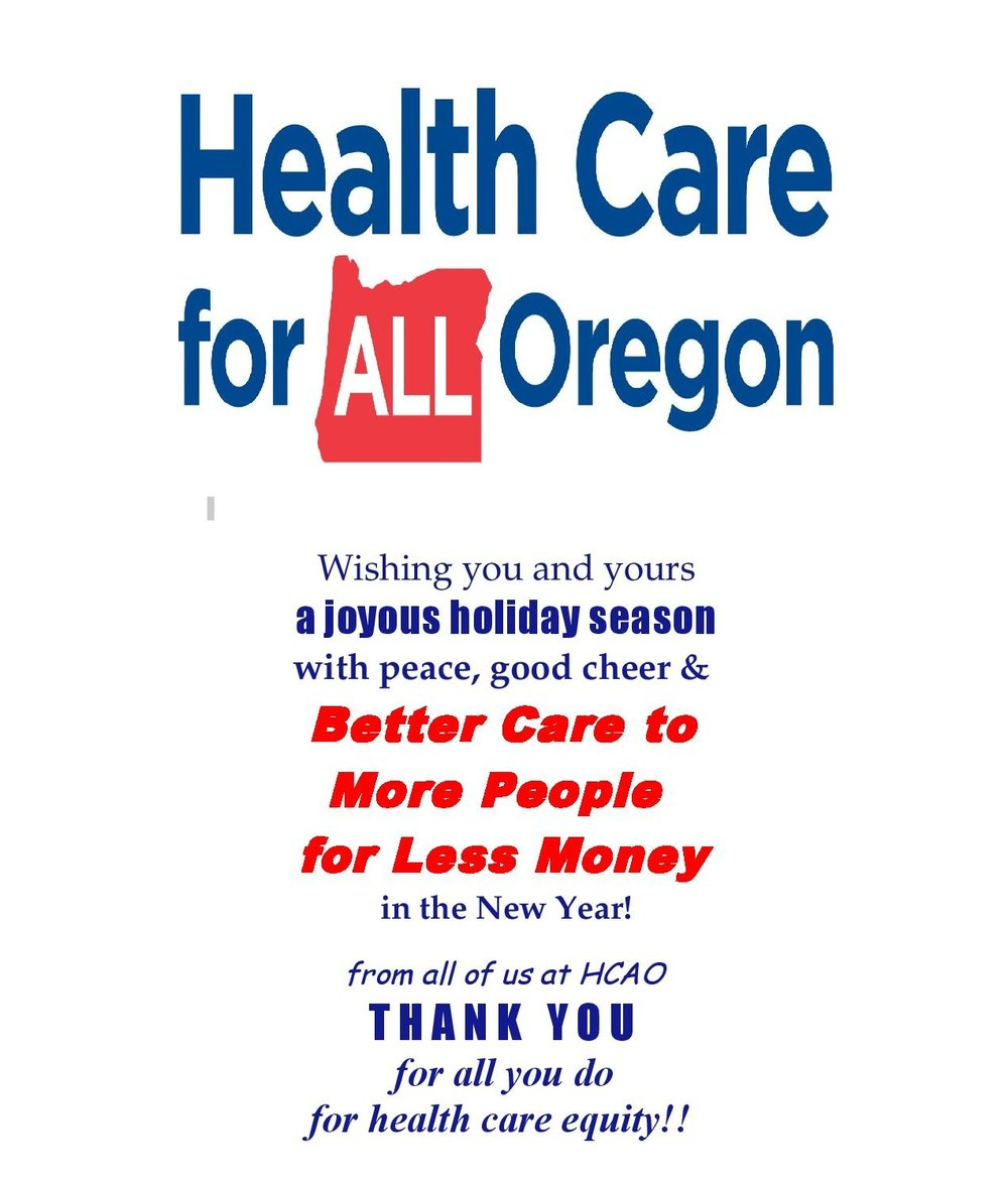 Holiday Greetings Health Care For All Oregon