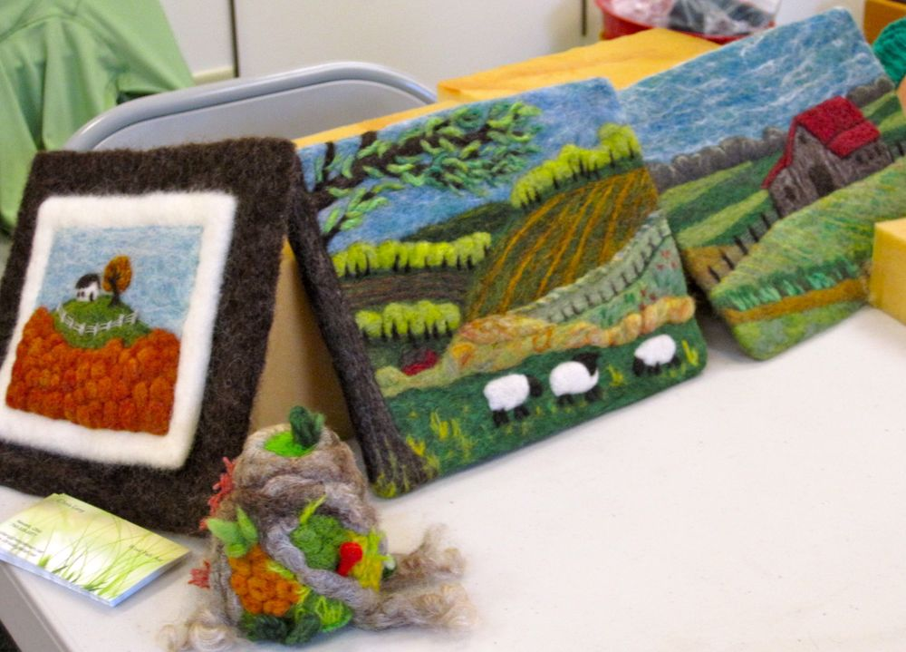 From our Felting workshop, using wool to create artistic designs.