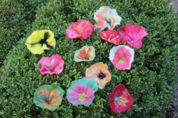 Close-up of Felted Flowers