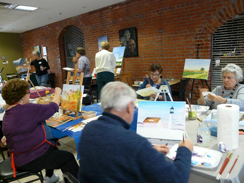 A great group of artists in the Central Gallery here for the Acrylic Workshop taught by Kathy Anderson
