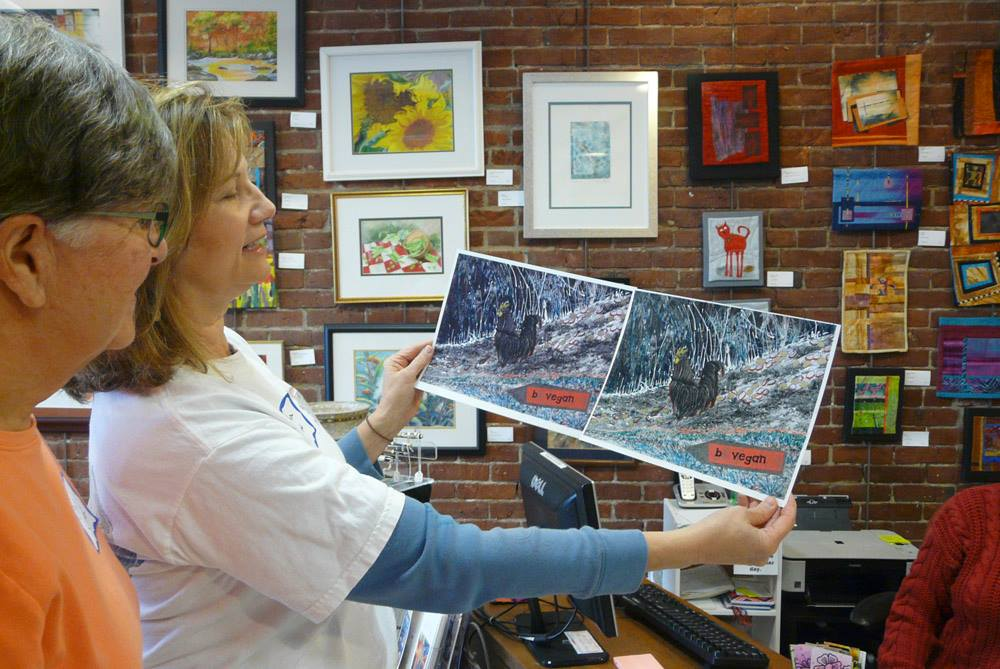 After painting, scanning and printing the finished work, Martha compares the results.