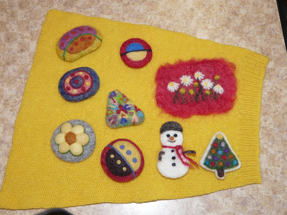 The finished brooches from the Felting Workshop