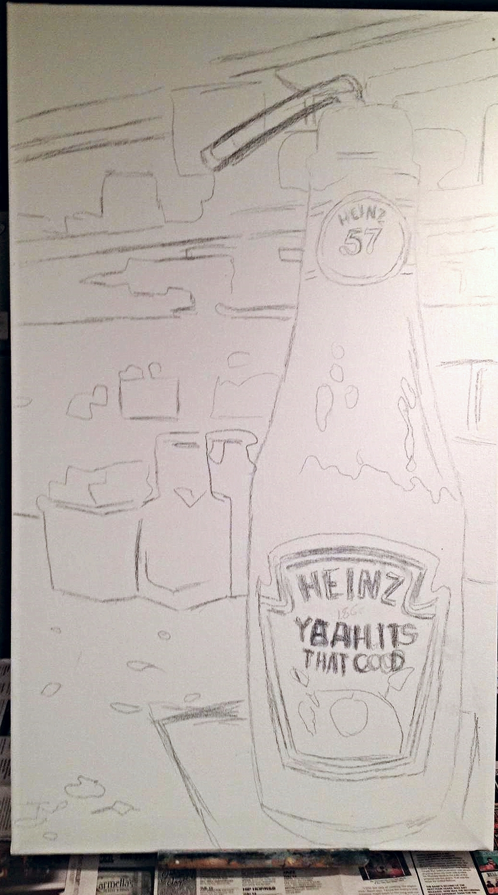 1. I first start off with drawing my sketch of the ketchup bottle in the diner on the canvas. the photo I was using as my reference was from one I took at the counter at Central Diner in Robinson, Pittsburgh.   I didn't have the straw or napkin in the original photo so I had to take a separate photo with a mock set I set up at home and added it to the painting.