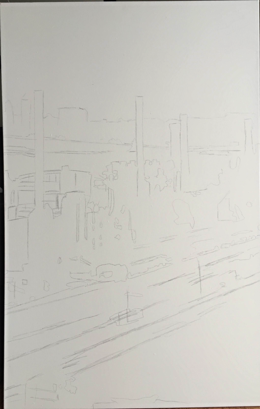 1. So i started the painting of J & L Steel by lightly drawing it onto the canvas. i personally like to sketch the picture onto the canvas and then  lightly go over it with an eraser. I don't like to paint white over the lead lines because it'll bleed and muddy my white color while i'm painting which I hate.