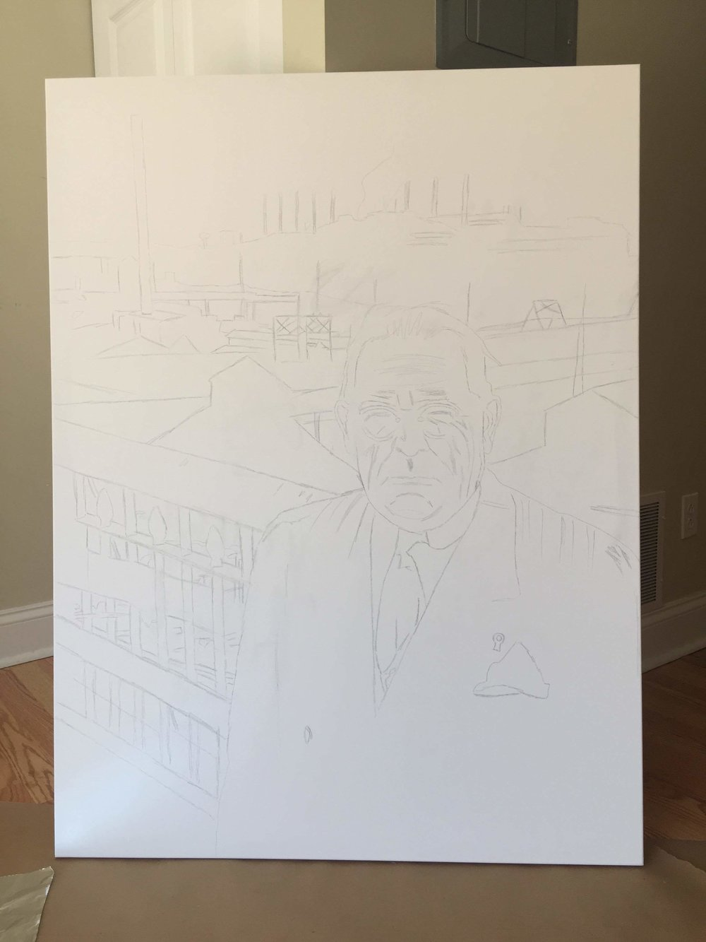 Outlining the image onto the canvas
