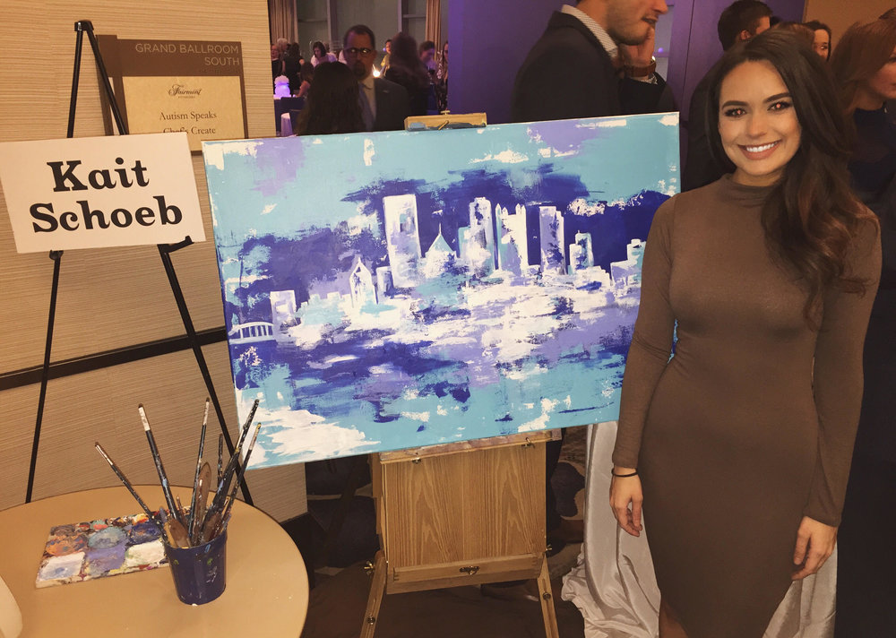 Kait and her painting live at the Autism Speaks Chef's Create gala