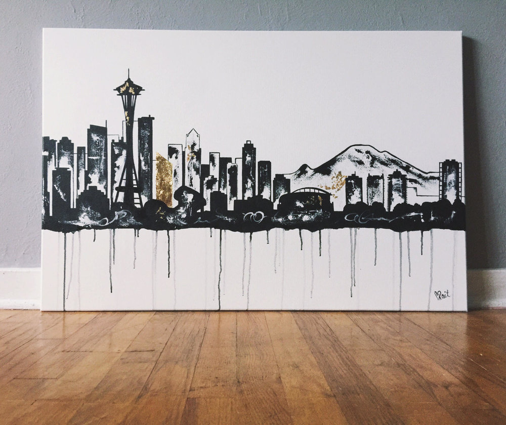 """Seattle Skyline"" 3ftx2ft Acrylic and gold leafing on Canvas"