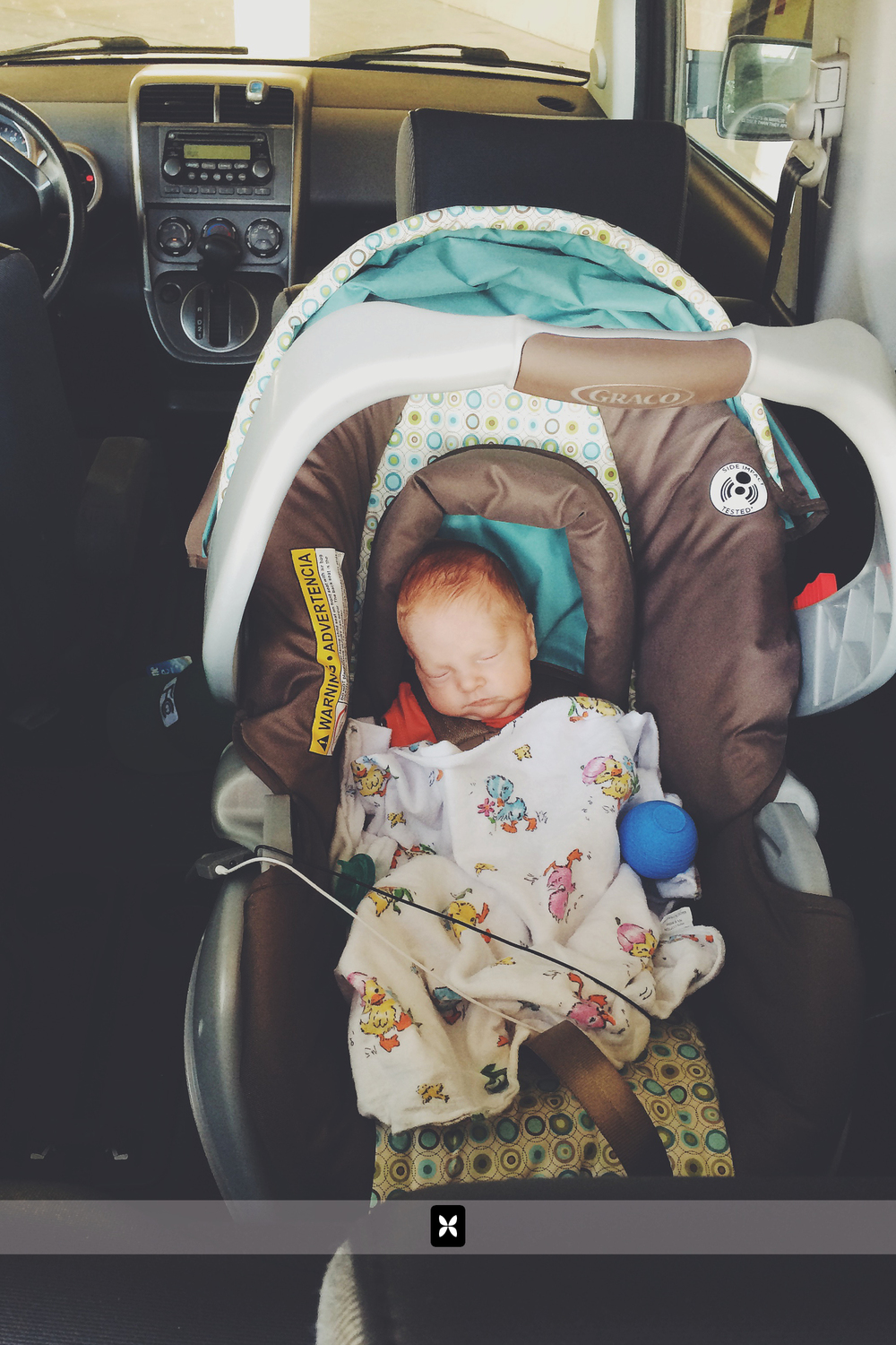 Weston's first ride in the Novomobile. Clearly, he's beyond excited.
