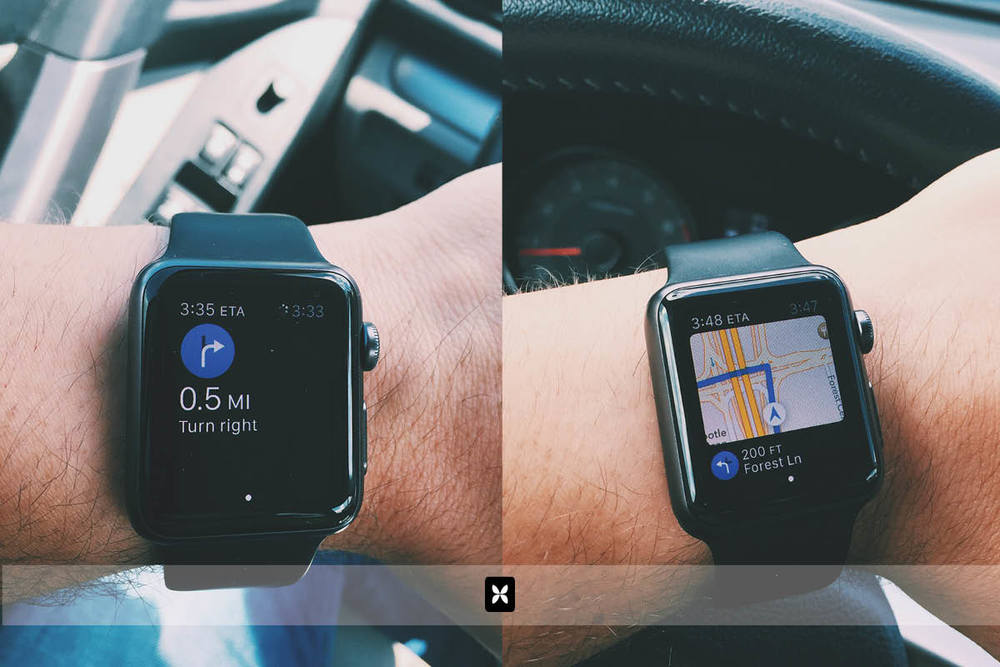 Using navigation with the watch is a huge help. Again, the elimination of casting glances to my phone while driving is a welcome change. The watch connects to the Apple Maps app on the phone so when you plug in a route on your phone, the directions and notifications are pushed to the watch. The watch taps you on the wrist and chirps when a turn is coming up. Glancing down shows you either the next direction or a map overview.
