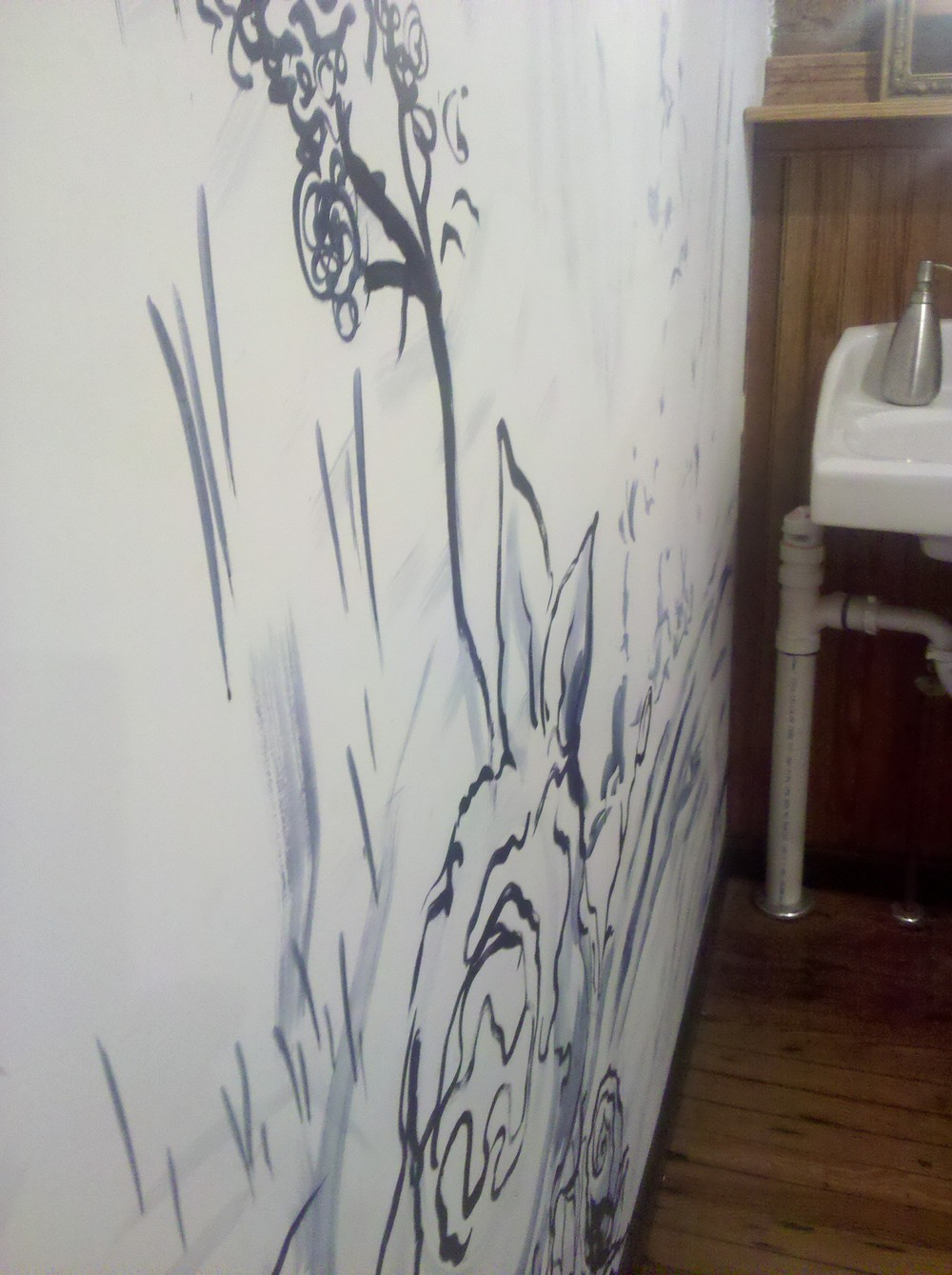 Flow in Marshall, mural in the bathroom