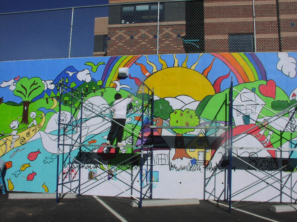 Mural for the YWCA parking lot/retaining wall