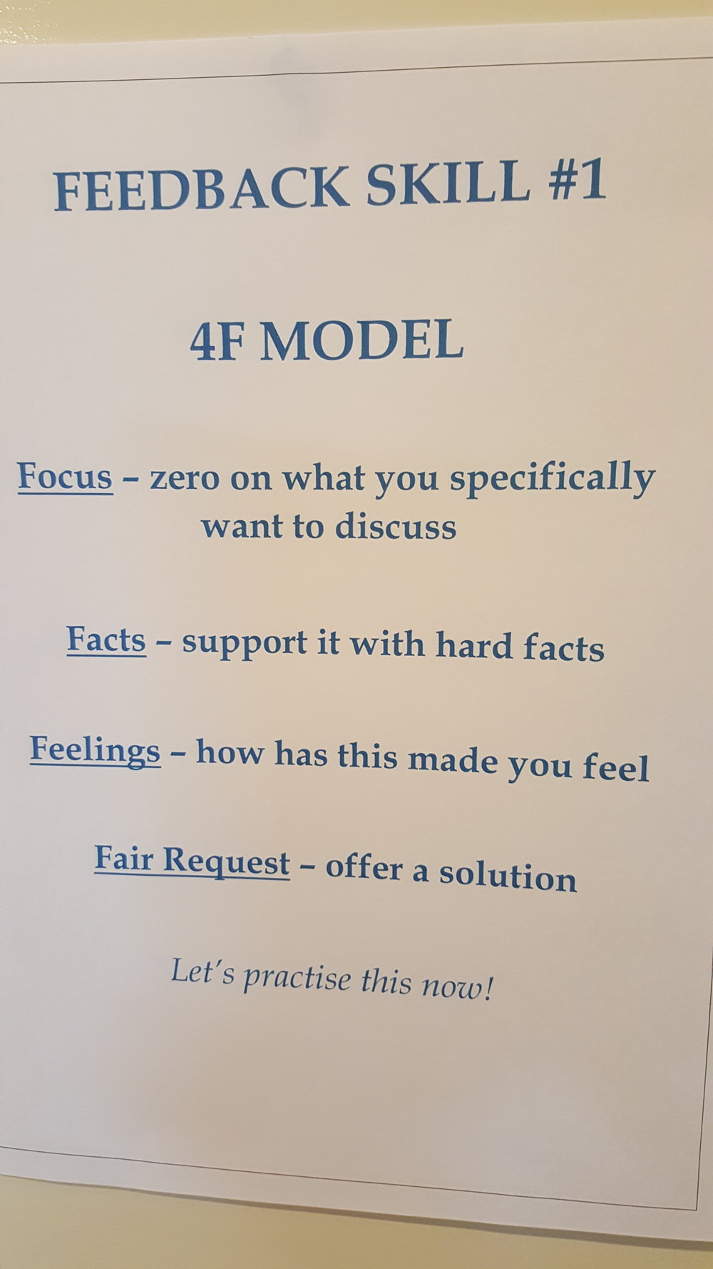 The Four F model is a great Feedback model - one of many which I share with clients during workshops.