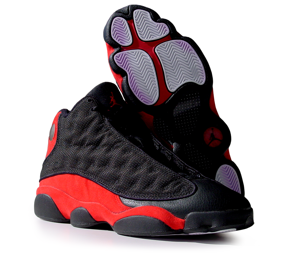 figure 2: The unique, podular design of the Air Jordan XIII's outsole is visible in this bottom view. This podular geometry—and particularly the pod under the cuboid region of the foot—did seem to contribute to the shoe's lateral stability, but I found myself wishing the bottom flexed more naturally and that the outsole gripped the court more tenaciously.