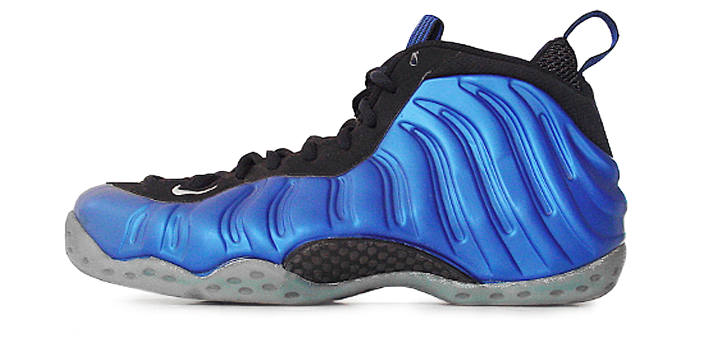 figure 2:  The Nike Air Foamposite One was an instant classic and the OG remains a grail for many a sneaker fanatic. As you can see above, in addition to its striking dark neon royal hue, a key distinguishing characteristic of the Foam One is its lack of a Swoosh on the lateral quarter panel.