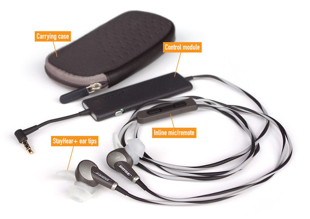 Figure 1. Here are the key components of the Bose QuietComfort 20 Acoustic Noise Cancelling headphone. For my fellow Apple device users, note that Bose offers an iPod/iPhone/iPad-specific model called the QC20i—you'll need this version if you want to be able to use the inline remote controller and microphone with your Apple devices.