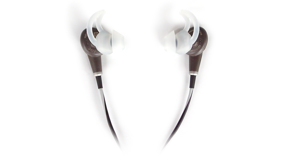 Figure 3.  Here's a close-up look at Bose's proprietary StayHear+ silicon ear tips. The unique design of these tips is such that they don't insert into your ear canal so much as they sit  just  outside of it. Even if you've sworn off in-ears in the past, the QC20 is worth a try because its comfort and fit are an order of magnitude superior to any other in-ear headphone I've tried. Also note that the QC20 comes with three sets of StayHear+ tips: in small, medium and large.