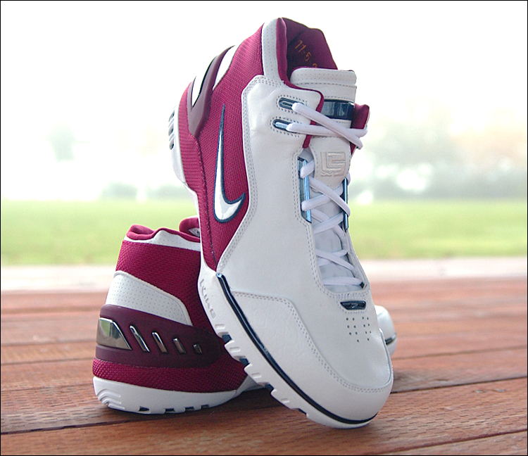 "figure 4.  Visible here is the Air Zoom Generation's hidden eyestay lacing system augmented with metallic ""lace rails"" over the midfoot. Lateral lockdown was generally good, but I experienced more front-to-back movement within the shoe than I would have liked. Note also the very low-key, tonal LJ23 logo embroidered onto the tongue. All of the LeBron specific signifiers incorporated into the Air Zoom Generation are surprisingly subtle."