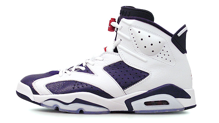 figure 2.  Even though it's 10-years-old, the design of the Air Jordan VI remains remarkably modern and fresh. And, to my eyes, this limited-edition navy/varsity red-white (aka Olympic) colorway is particularly sweet.