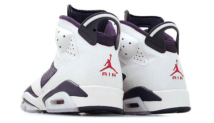"figure 3.  The dreaded mark of the retro! Original iterations of the Air Jordan VI featured an embroidered ""Nike Air"" logo at the heel, so the Jumpman logo is a sure sign that a shoe is a re-issue. In my opinion, the Jumpman looks pretty damn good, so I'm not complaining."