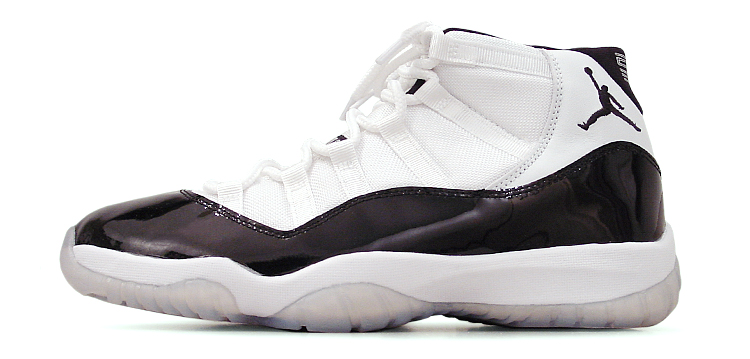 figure 1. The Air Jordan XI in its most iconic White/Black–Dark Concord colorway. Sneaker fans have come to love its trademark patent leather rand, but try to imagine how shocking the XI would have been when it first hit store shelves in 1995.