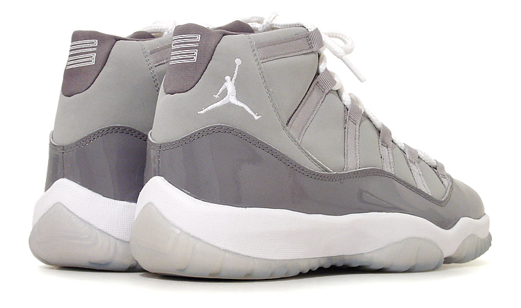 figure 3.  And here's the Air Jordan XI in Medium Grey/White–Cool Grey, which debuted as a retro release in 2001. If there's such a thing as a low-key colorway of the Air Jordan XI, this is it.