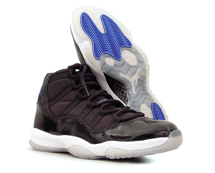 "figure 5.  Pictured here is the Air Jordan XI in Black/Varsity Royal–White, which is colloquially referred to as the ""Space Jam"" colorway, a reference to the 1996 live-action/animated  film of the same name  starring MJ and Bugs Bunny. Note that the XI's traction is unusually good for a shoe that features a mostly translucent rubber outsole. Note also that the translucent portions of the outsole will yellow, especially if left exposed to heat or sunlight."