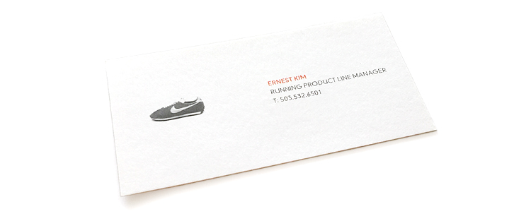 My business card from my first stint at Nike, during which I served as a global product line manager, or PLM, in the company's Running Footwear category. FYI: My phone number has changed since this card was issued—if you want to get in touch, the best way to reach me is on Twitter  @edotkim .