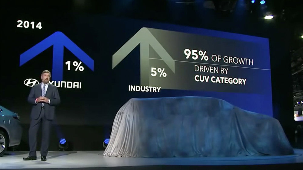 Hyundai Motor America president and CEO, Dave Zuchowski, sets up the reveal of the Santa Cruz Concept with a refreshingly candid look at the challenges faced by the company circa early 2015.