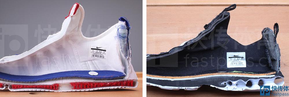 figure 4. These cutaway images of the Zoom KD 9 (left) and LeBron XIII Low (right) from  Fastpass.cn  aren't controlled for scale or the angle of the photos, so they can't be used for a direct comparison of midsole heights between the two shoes. But they're instructive nonetheless in that they reveal the flat, uniform top and bottom surfaces characteristic of Nike's Zoom Air vs. the rounded, irregular topology of a Max Air unit. The latter must be topped by a moderating layer of foam to be made wearable, invariably resulting in a taller, less inherently stable—but also more cushioned—underfoot platform. The greater cushioning afforded by Max could be worth the trade-off for bigger, heavier players, but I've always preferred the lower profile feel of Zoom. As an aside, note the pronounced hump of foam added atop the midfoot region of the KD 9. This sits right behind the metatarsal heads, supporting the foot's transverse arch, which is the arch that spans the width of the foot. This might seem like an inconsequential detail, but I absolutely loved this feature of the KD 9 and believe it meaningfully contributes to the shoe's overall comfort and performance.